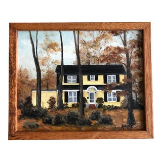 Vintage Original Framed House Portrait Painting For Sale