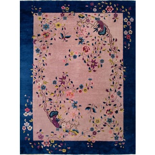 Antique Rose Chinese Art Deco Wool Rug 8 Ft 9 in X 11 Ft 8 In. For Sale