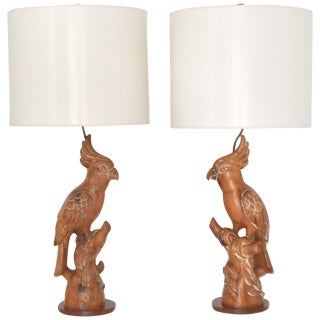 Pair of Mid-Century Hand-Carved Wooden Parrot Form Table Lamps For Sale