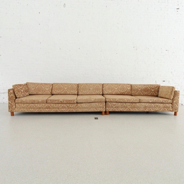 Mid Century Newly Upholstered Damask Sofa For Sale In Los Angeles - Image 6 of 6