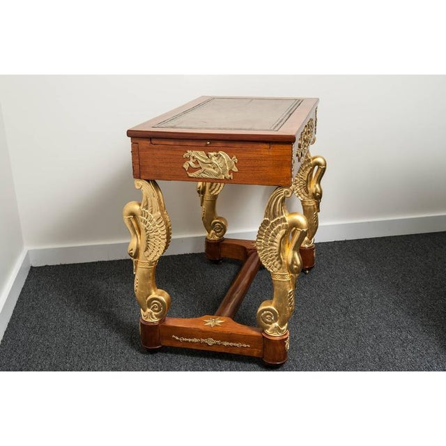 Animal Skin 19th Century French Empire Mahogany and Giltwood Dressing Table-Writing Desk For Sale - Image 7 of 10