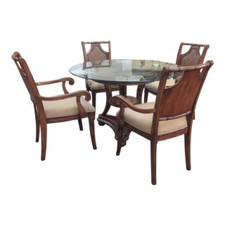 Transitional Glass Top Rattan Round Dining Set For Sale