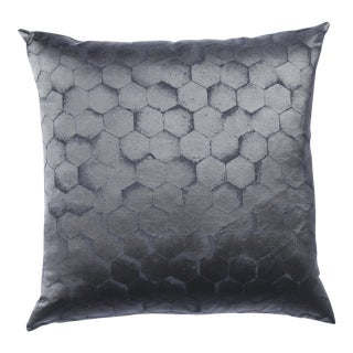 Slate Gray Hexagonal Silk Pillow For Sale