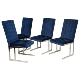 Four Milo Baughman for Directional Polished Chrome Dining Chairs For Sale