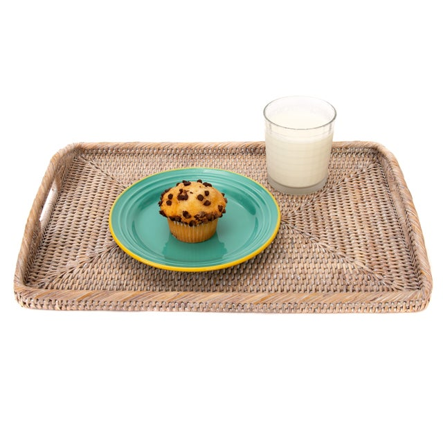 Boho Chic Artifacts Rattan Rectangular Tray With High Handles For Sale - Image 3 of 6