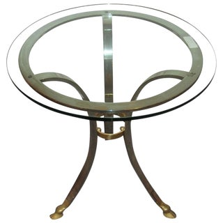 Maison Baques Style End Table Brass and Steel For Sale