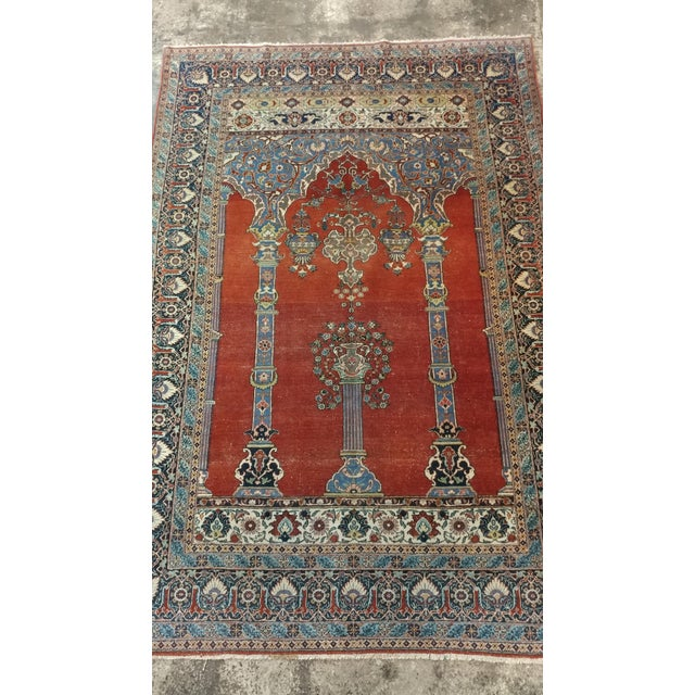 Islamic Antique Hand Made Persian Mashhad Rug - 4′4″ × 7′ For Sale - Image 3 of 10