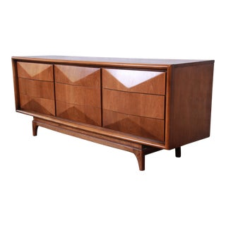 Mid-Century Modern Sculpted Walnut Diamond Front Credenza by United For Sale