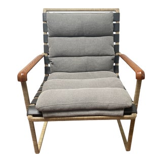 """Steven Volpe for Baker Furniture Rawhide Wrapped Steel Frame and Upholstered Cushions """"Lockram"""" Lounge Chair For Sale"""