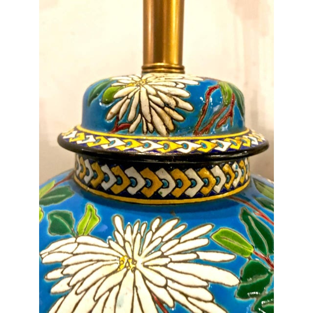 Pair 19th Century Majolica Longwy Lamps For Sale In Los Angeles - Image 6 of 8