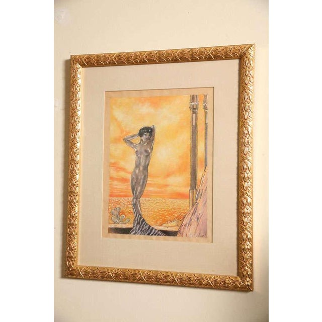 Art Deco One of a Kind Art Deco Watercolor by Eduard Chimot Custom Framed For Sale - Image 3 of 11