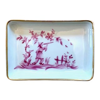 1960s Limoges Chinoiserie Trinket Dish For Sale