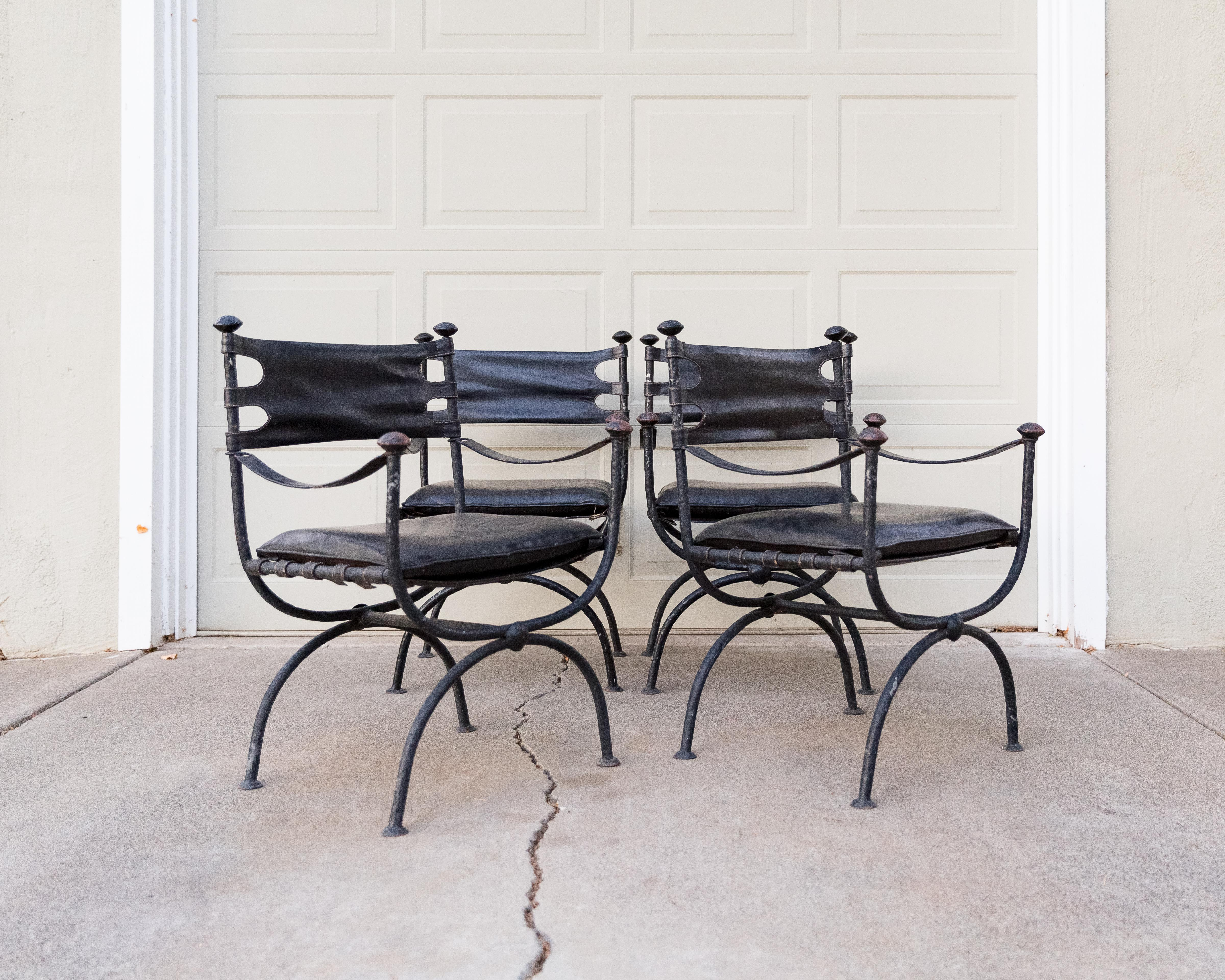 Iron U0026 Leather Campaign Chairs   Set Of 4   Image 4 Of 11