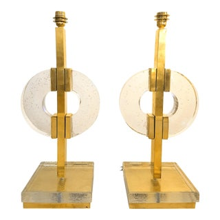 Mid Century Modern Clear Glass/Brass Italian Table Lamps- A Pair For Sale