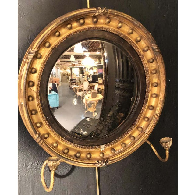 19th Century Federal Giltwood Bullseye Convex Mirror Wall Sconce For Sale - Image 9 of 11