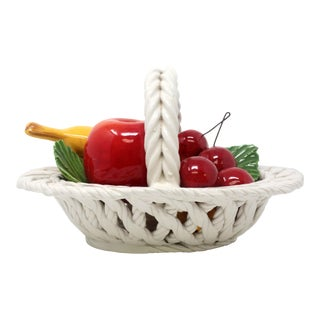 Vintage Italian Ceramic Fruit Basket Cherry Apple Italy