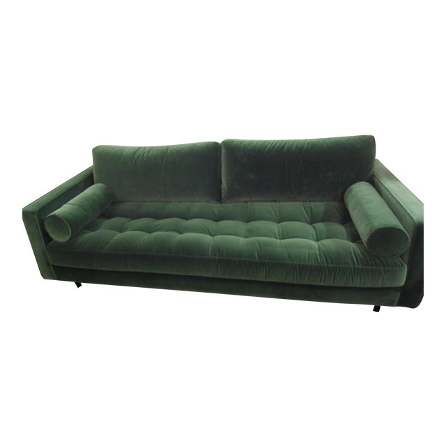 Sven Grass Green Sofa W Bolster Pillows By Article