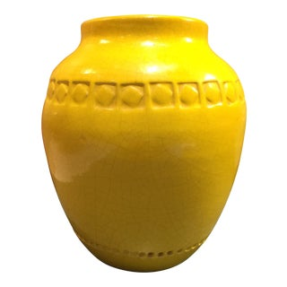 Yellow Italian Bitossi Urn Style Vase For Sale