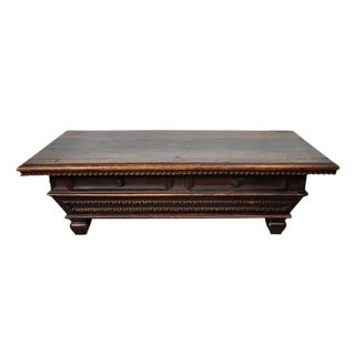 Vintage Mediterranean Graduated Carved Coffee Table W/ Two Drawers For Sale