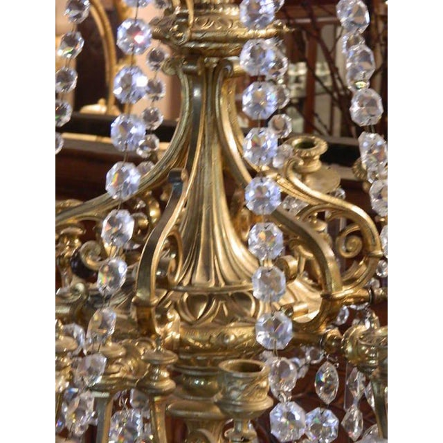 French French Bronze Dore Eighteen Candle Chandelier With Crystals, 19th Century For Sale - Image 3 of 11