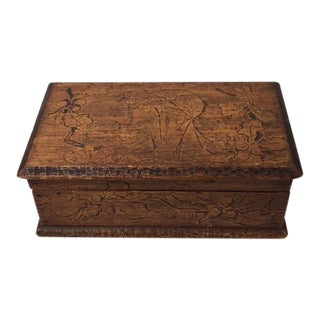 20th Century Art Nouveau Wooden Pyrography Jewelry Box For Sale