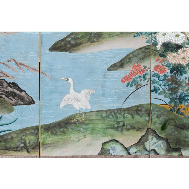"""Japanese Sung Tze-Chin Chinoiserie Hanging Screen Ink on Gold Foil """"Red-Crowned Cranes at the River"""" For Sale - Image 3 of 12"""