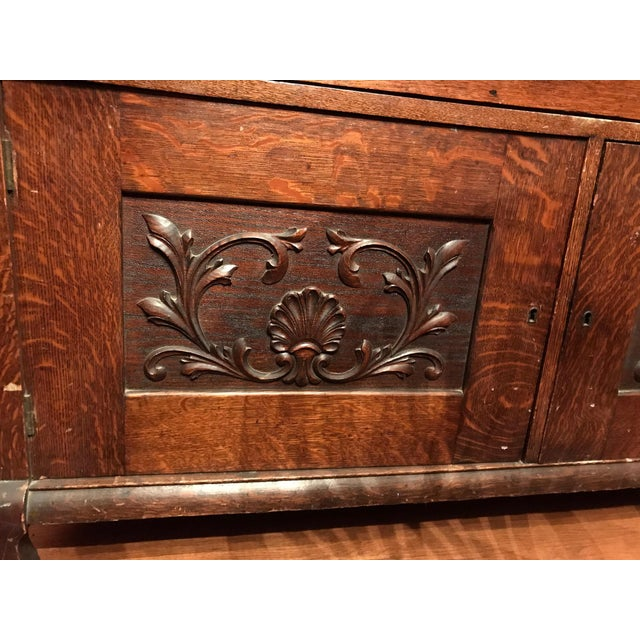 Antique Tiger Oak Buffet With Mirror - Image 11 of 11