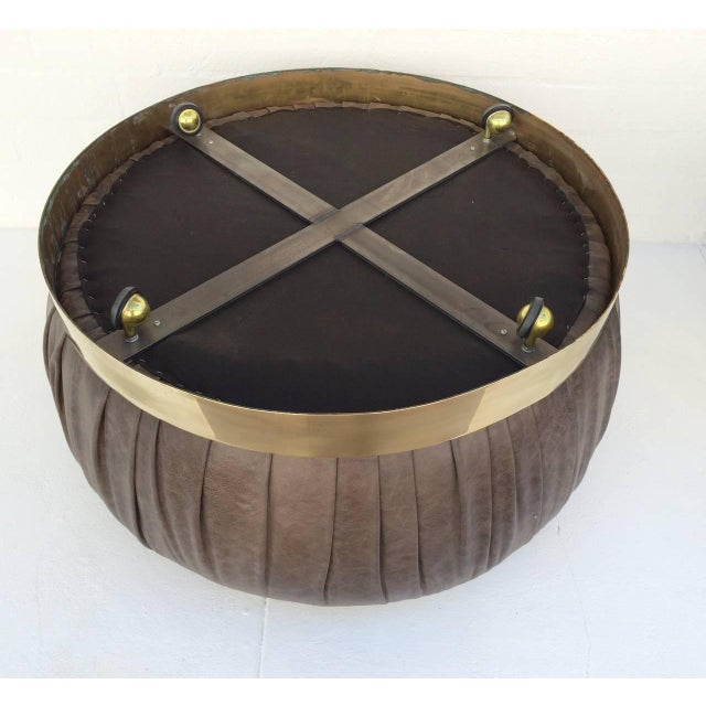 Large-Scale Leather and Brass Ottoman by Karl Springer - Image 5 of 6