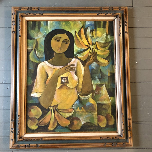 Canvas Original Modernist Tropical Female Portrait Painting For Sale - Image 7 of 7