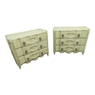 Louis XV Green & Cream Commodes - a Pair For Sale