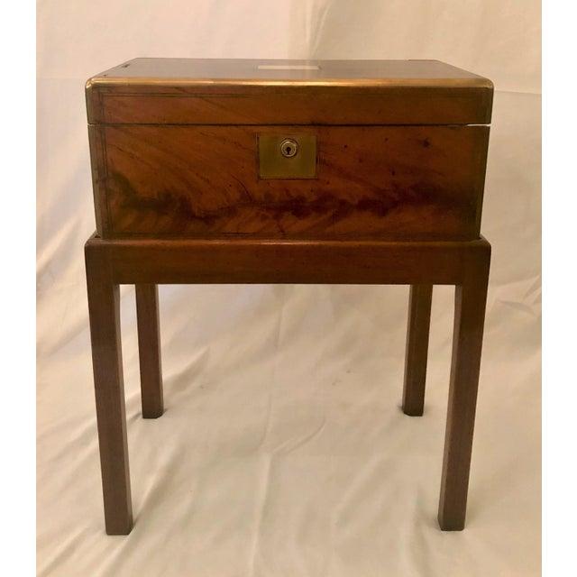 Antique English Mid 19th Century Mahogany Writing Box on Stand.