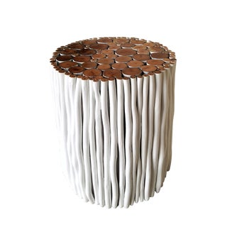 Wood Stick Stool White For Sale