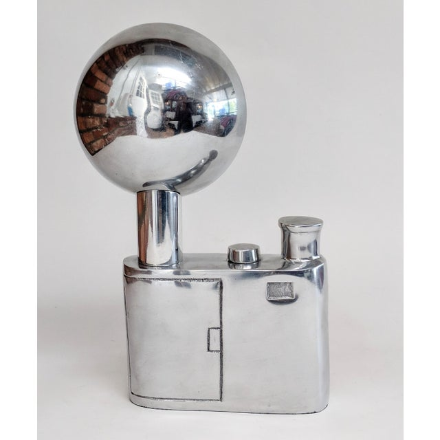 2010s Aluminum Vintage Flash Camera Sculpture For Sale - Image 5 of 11