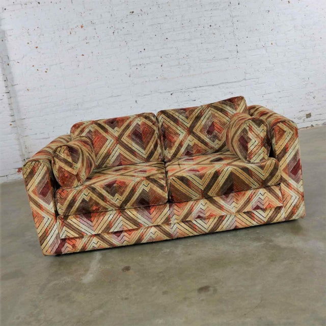 Jack Lenor Larsen Tuxedo Mod Loveseat Sofa in Jack Lenor Larsen Style Fabric For Sale - Image 4 of 13