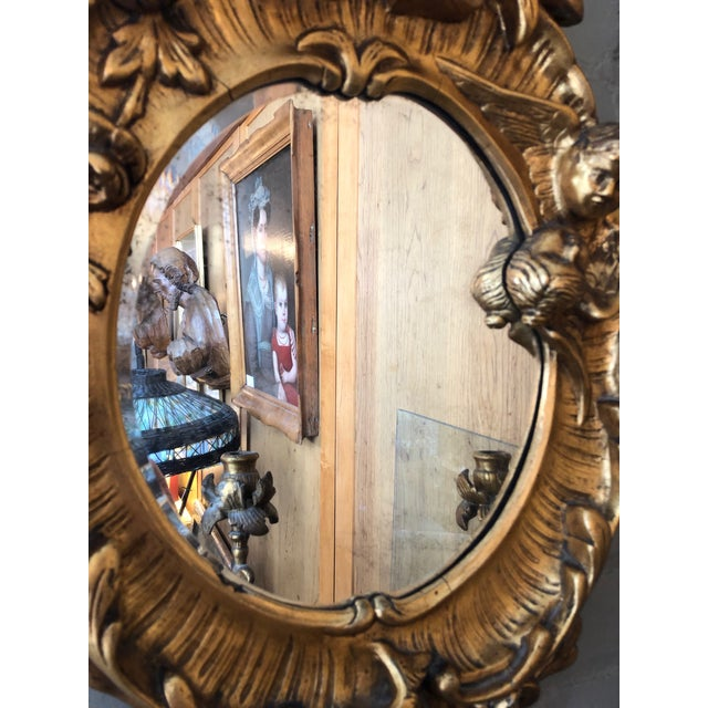Gesso Turn of the Century Italian Baroque Style Girandole 3 Light Wall Mirror For Sale - Image 7 of 10