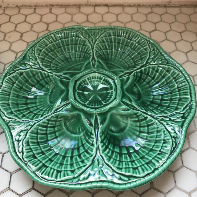 Green French Glazed Oyster Plates-Pair For Sale - Image 4 of 11