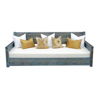 Grand Foliate Carved Blue Daybed For Sale