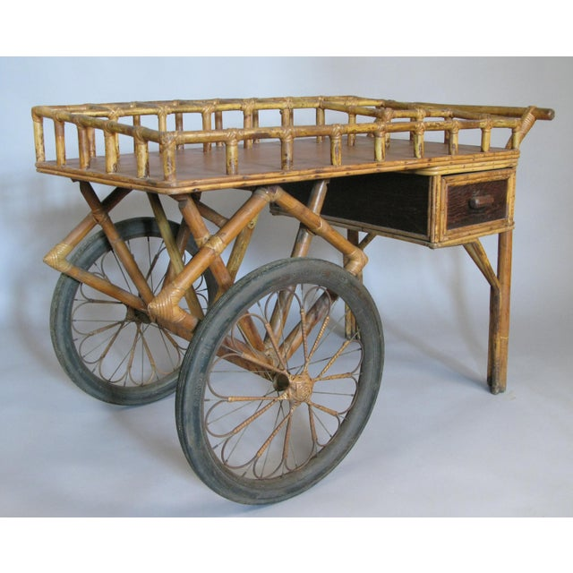 Antique 1920s Rattan and Wicker Bar Cart For Sale In New York - Image 6 of 9