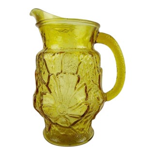 1960s Boho Chic Anchor Hocking Amber Glass Pitcher