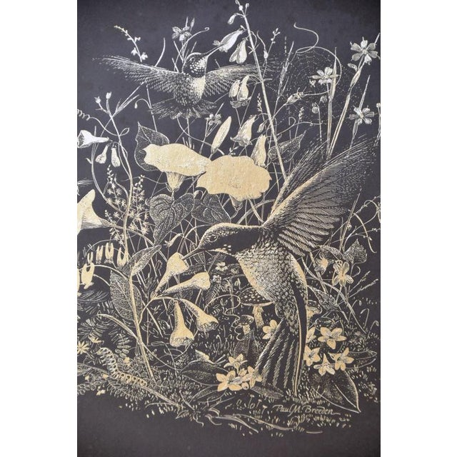 Paul M. Breeden Hummingbirds Drinking Nectar Gold Foil Etching For Sale - Image 4 of 6