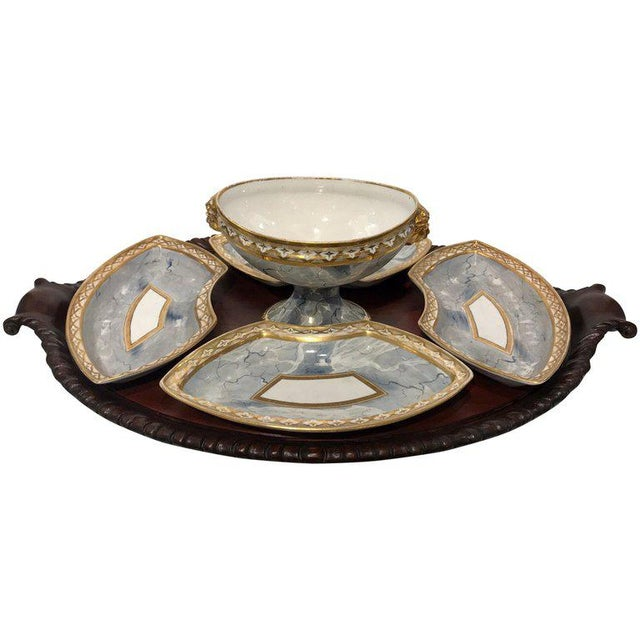 Antique Derby Marbleized Supper Set on Georgian Mahogany Tray For Sale - Image 13 of 13