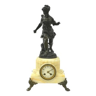 19th Century French Figural Mantle Clock! Antique Female Statue on Onyx Base With Paw Feet For Sale