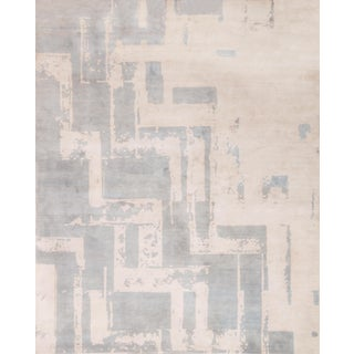 Art Deco Inspired Graphic Hand Knotted Light Blue Wool Rug For Sale