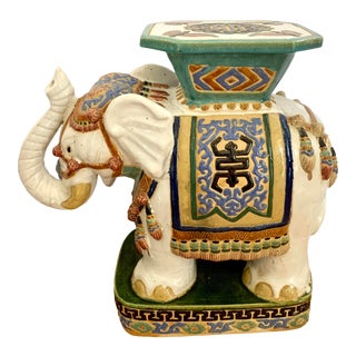 Vintage Porcelain Elephant Garden Stool Bench Seat For Sale