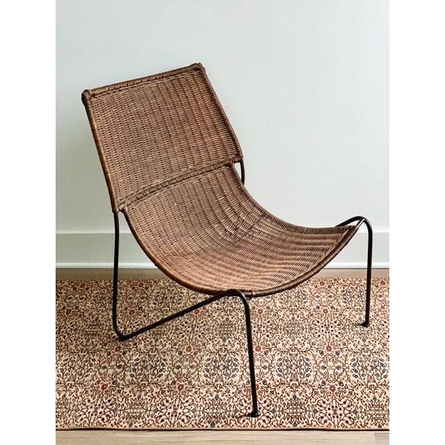 Wicker and Iron Lounge Chair For Sale - Image 9 of 9