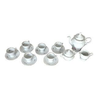 Vintage Floral Porcelain Tea Set of 9 For Sale