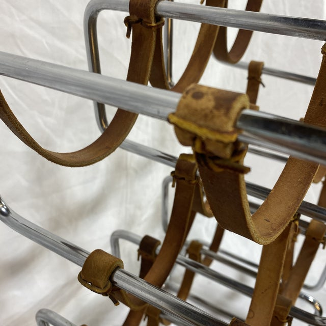 1970s Arthur Umanoff Chrome and Leather Wine Rack For Sale - Image 5 of 10