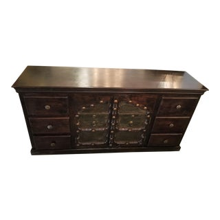 Antique Asian Indian Rustic Heavy Metal Hardware Wood Credenza