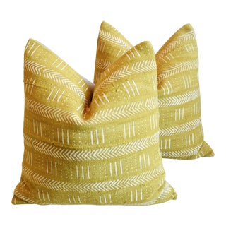 """African Malian Gold & Cream Feather/Down Pillows 22"""" Square - Pair For Sale"""
