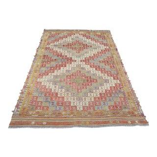 Vintage Turkish Oushak Nomads Kilim Embroidery Rug For Sale
